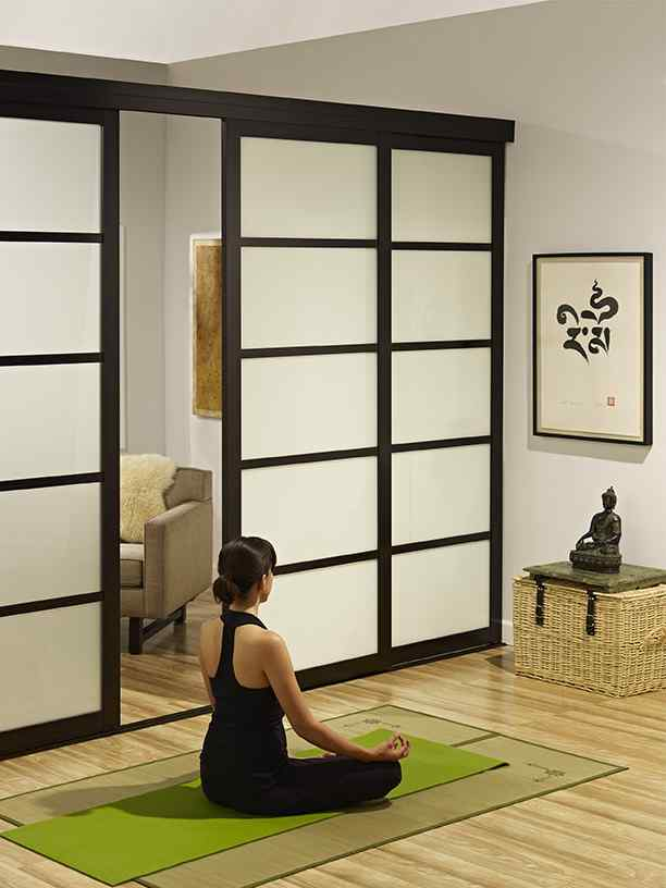 room divider frosted glass private home office meditation room