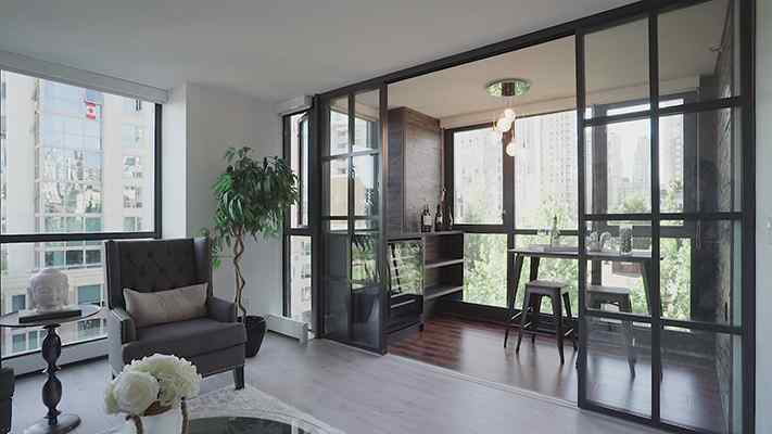 room divider sliding glass Door Charcoal Frame Continental Design Double Track
