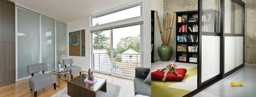 sliding door separating two rooms feature